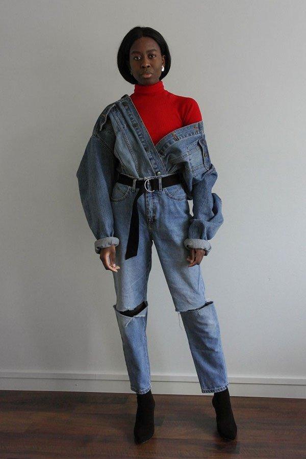 reprodução pinterest - calça jeans, jaqueta e turtleneck - turtleneck - inverno - street style