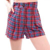 Shorts De Alfaiataria Xadrez  Tamanho:  36 - Cor:  Vermelho