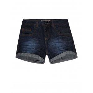 Shorts Feminino Jeans Com Barra Dobrada