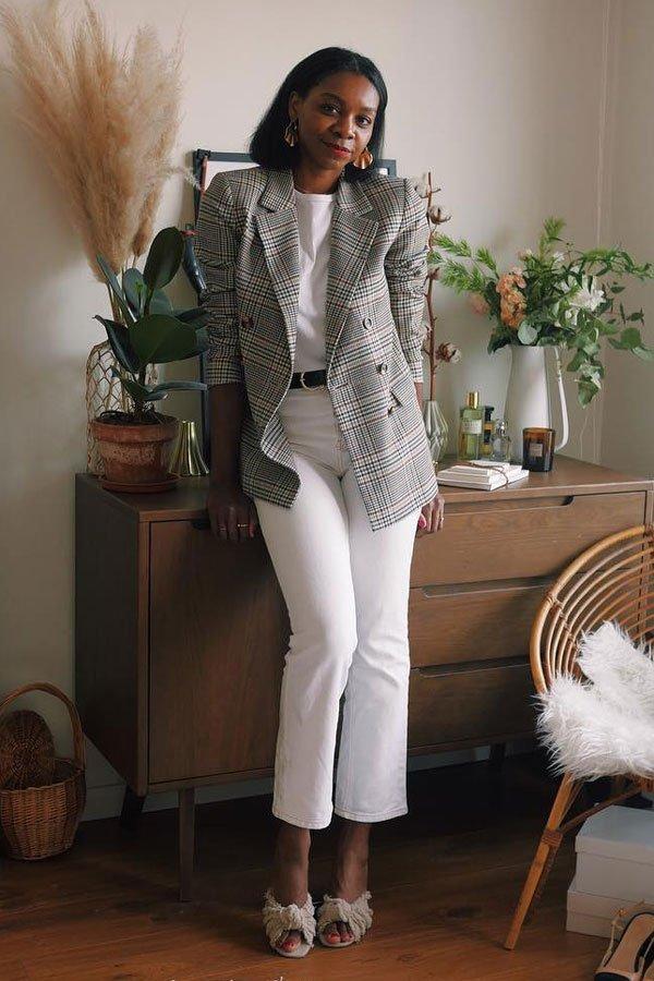 Stephanie C. - jeans branco e blazer - jeans branco - meia-estação - street style