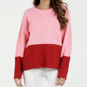 Suéter Feminino Tricô Bicolor Manga Longa Marisa