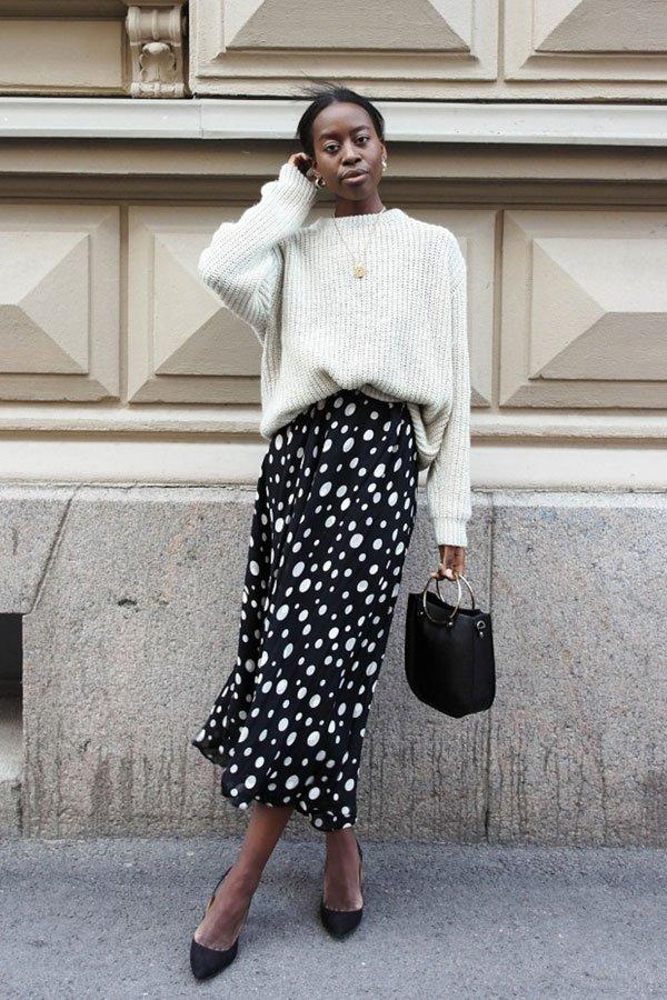 Sylvie Mus - Saia de poá e suéter - saia midi e suéter - inverno - street style