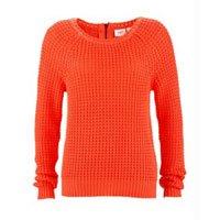 Suéter de Tricô Ponto Trabalhado Coral Neon