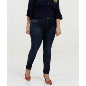 Calça Feminina Jeans Skinny Pedraria Plus Size Razon