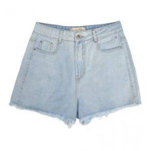 Shorts Jeans De Algodão Na Base Lisboa Com Barra Desfiada