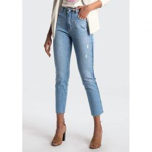 Calça Jeans Reta Com Detalhe Lateral