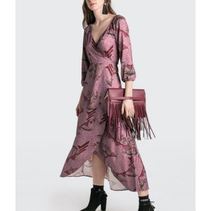 Vestido Midi Em Cetim Com Decote Transpassado