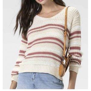 Suéter Em Tricô Listrado Com Detalhes Em Pelo