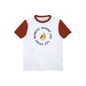 T-Shirt Em Malha De Algodão Com Estampa E Mangas Em Tonalidade Contrastante