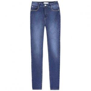 Calça Jeans Skinny Cintura Alta Com Bolsos