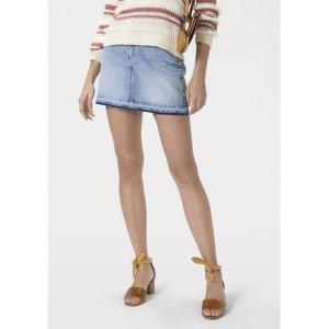 Saia Em Jeans De Algodão Com Barra Estonada E Sem Costura