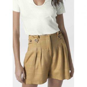 Shorts Clochard Cintura Alta Em Tecido De Viscose