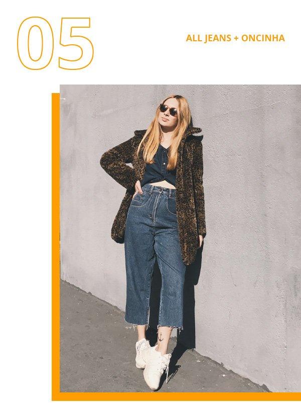 Ali Santos - calça e jaqueta jeans com casaco de oncinha - casaco de oncinha - inverno - street style