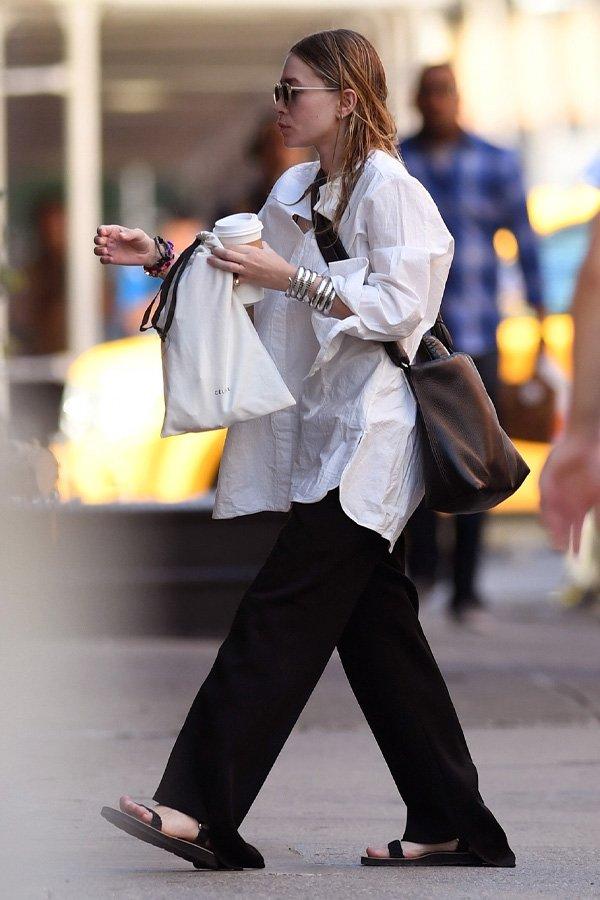 Ashley Olsen - camisa e calça de alfaiataria - olsen twins - inverno - street style