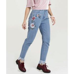 Calça Feminina Jeans Mom Bordado Marisa