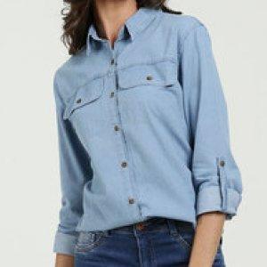 Camisa Feminina Jeans Bolso Manga Longa Marisa
