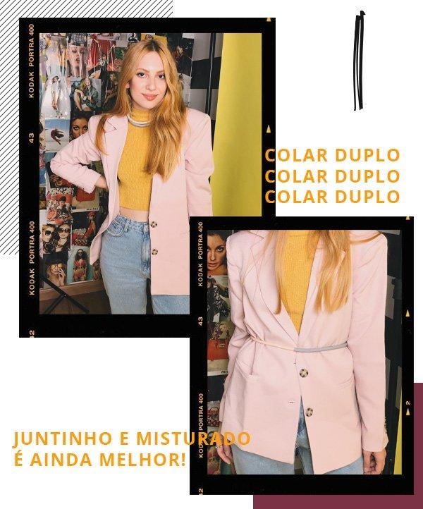Ali Santos - blazer rosa e calça jeans - cintos - inverno - street style