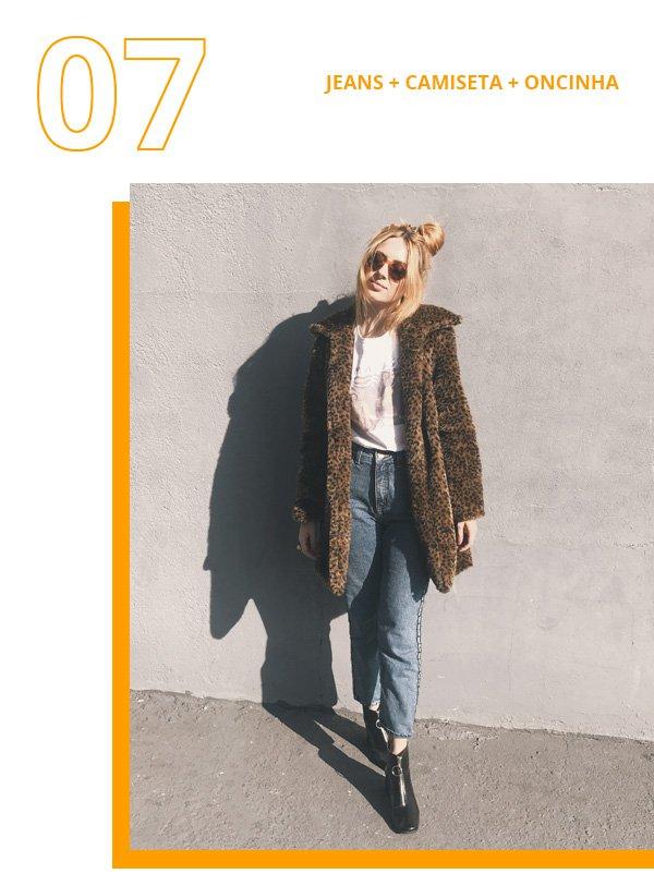 Ali Santos - jeans, camiseta e casaco de oncinha - casaco de oncinha - inverno - street style
