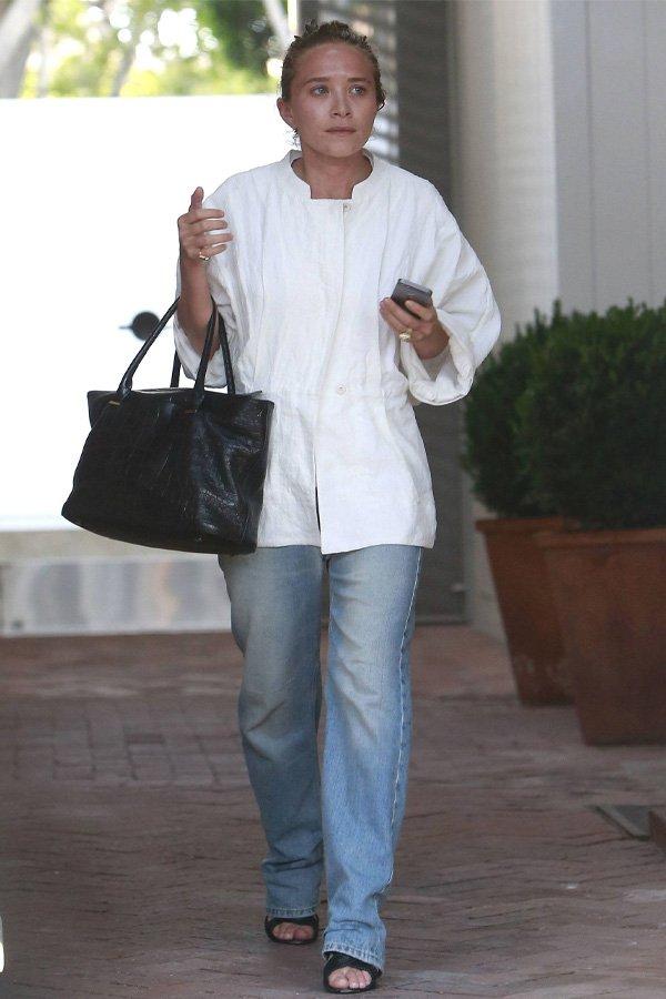 Mary-Kate Olsen - camisa e calça - olsen twins - inverno - street style