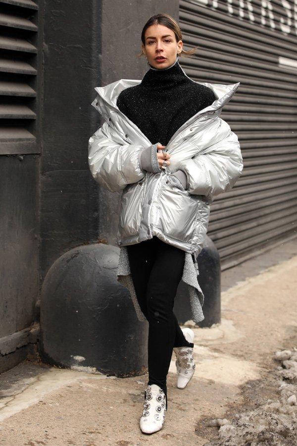 reprodução pinterest - puffer jacket - casacos styling tip - inverno - street style