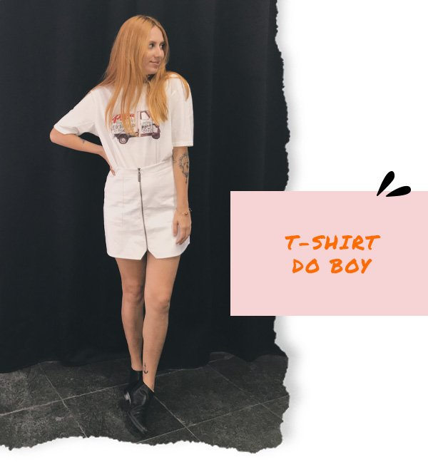 Ali Santos - saia branca com t-shirt - dia dos namorados - inverno - street style