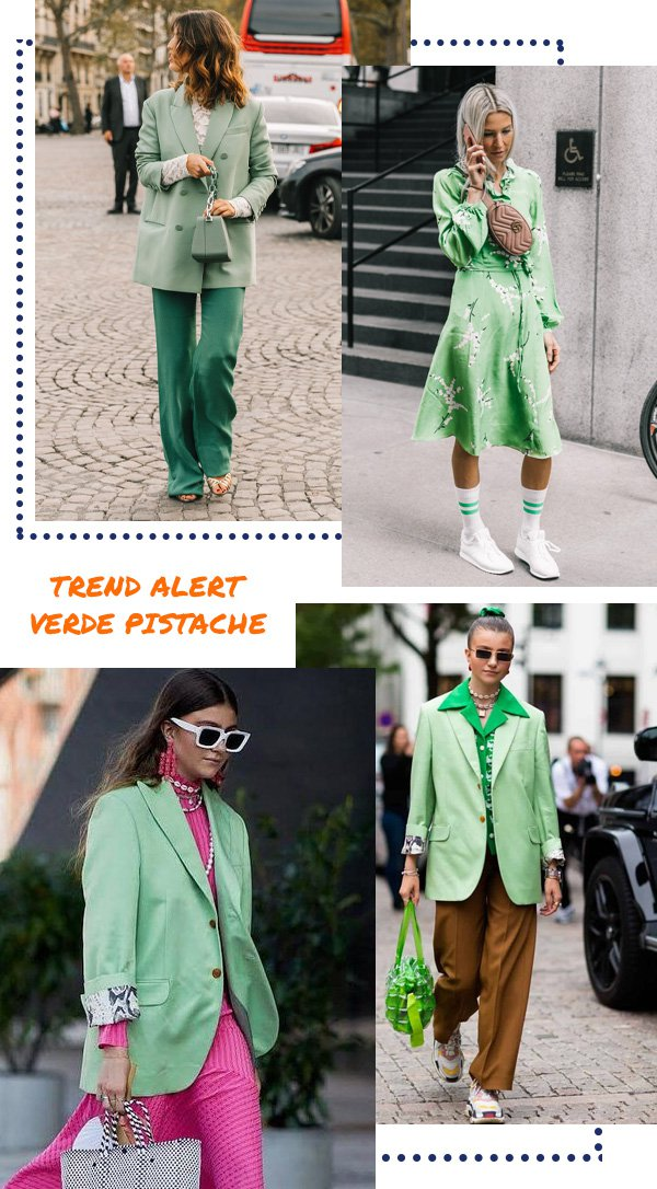 reprodução pinterest - pistacho green - verde pistache - inverno - street style