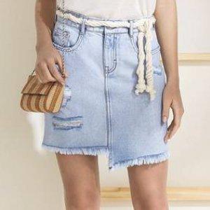 Saia Jeans Curta De Algodão Com Barra Diferenciada
