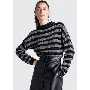 Suéter Listrado Em Tricô De Lurex Gola Alta