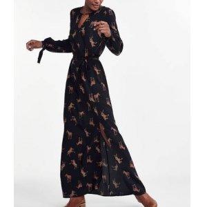 Vestido Longo Em Viscose Com Fenda Estampado