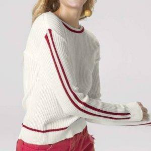 Suéter Em Tricot Com Listras Nas Mangas