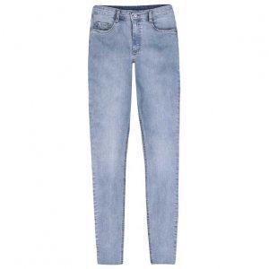 Calça Jeans Skinny Cintura Média Alta E Barra Desfiada