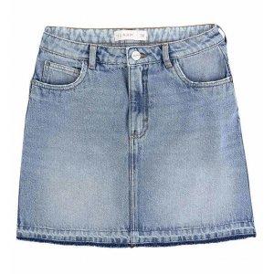 Saia Jeans Curta Com Barra Estonada Sem Costura
