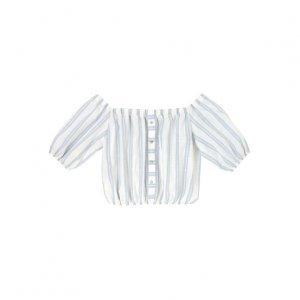 Blusa Cropped Ombro A Ombro Em Tecido Com Botões