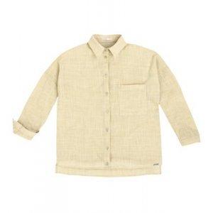 Camisa Em Tecido Fio Tinto De Algodão Com Barra Degrau