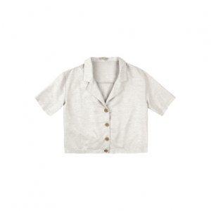 Camisa Cropped Em Tecido Crepe Linho Com Elástico Na Barra