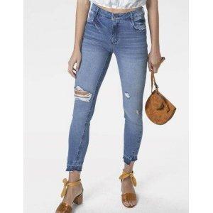 Calça Jeans Skinny Cintura Média Alta Com Ragos