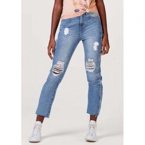 Calça Jeans Feminina Em Algodão Com Efeito Destroyed