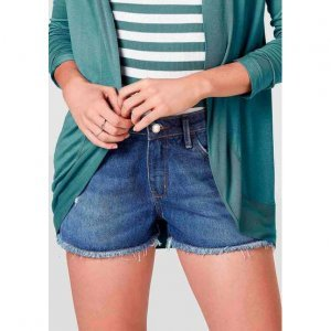 Shorts Jeans Feminino Com Detalhes Destroyed Eco Jeans