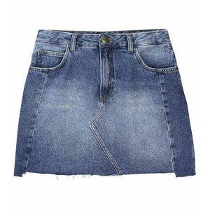 Saia Jeans Curta Com Barra Sem Costura