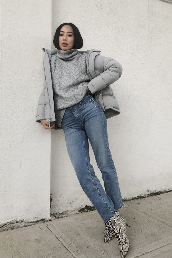 Aimee Song - puffer jacket - jaqueta puffer - inverno - street style