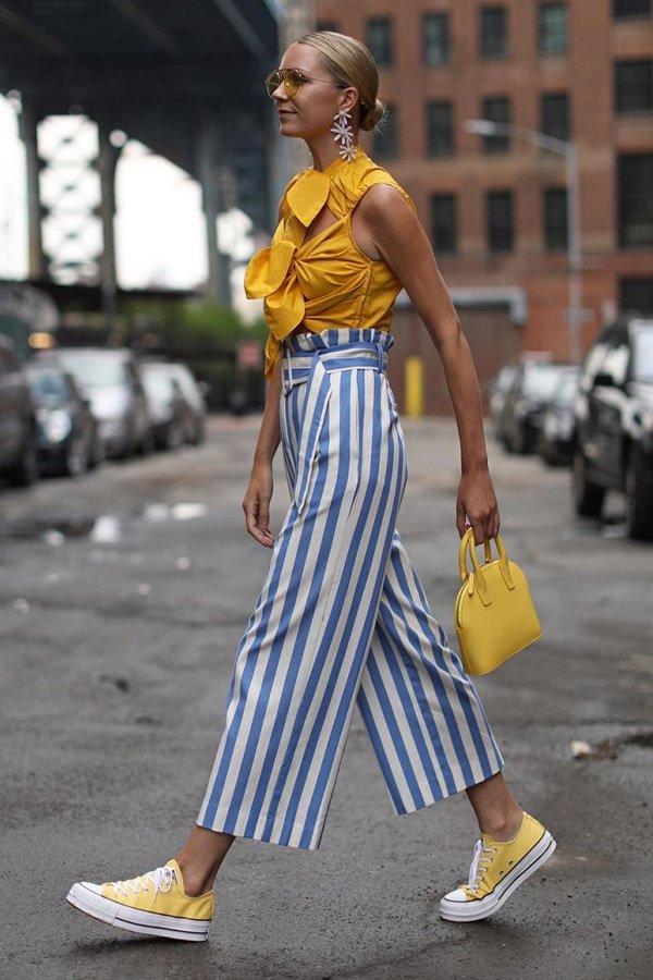 Blair Eadie - calça listrada - calça listrada - inverno - street style