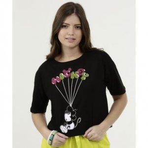 Blusa Feminina Cropped Estampa Mickey Disney