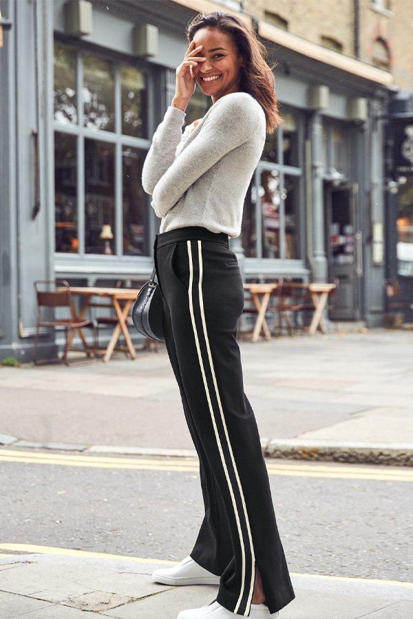 reprodução pinterest - calça listrada - calça listrada - inverno - street style
