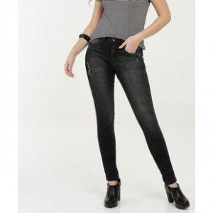 Calça Feminina Jeans Puídos Skinny Razon