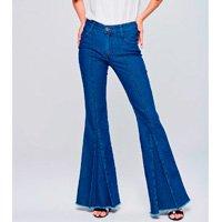 Calça Flare Jeans Feminina Prega Frontal