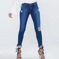 Calça Jegging Jeans Cropped Destroyed