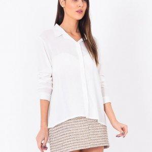 Camisa Longa Atras Branca - P Branco