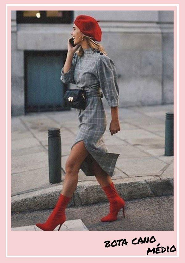 reprodução pinterest -      - botas cano médio - inverno - street style