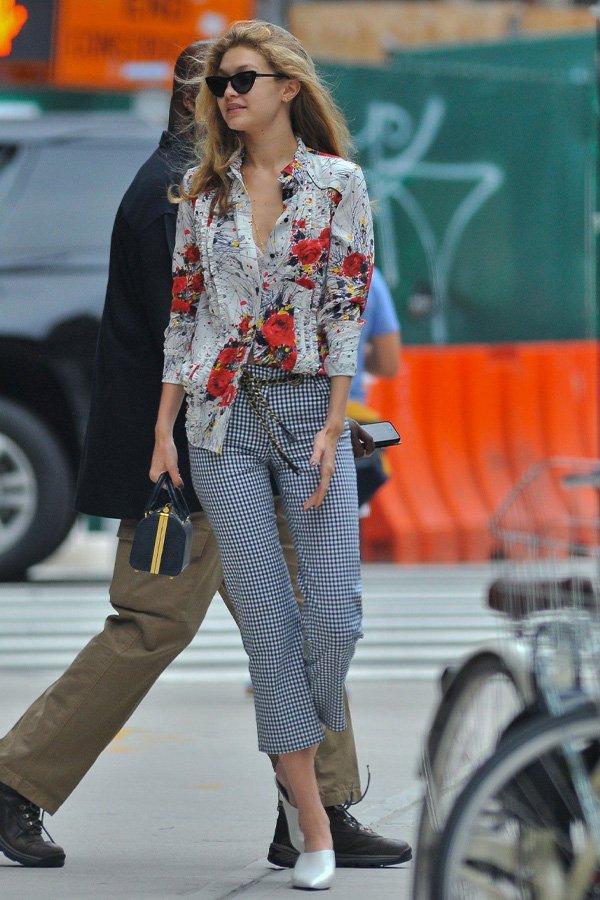Gigi Hadid - vichy - vichy - inverno - street style