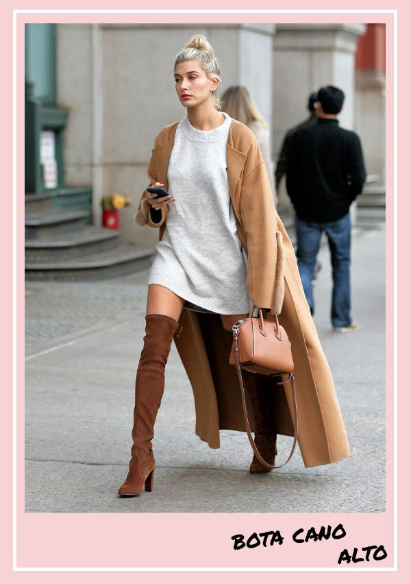 Hailey Bieber -          - bota cano alto - inverno - street style